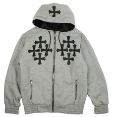 Chrome Hearts LEATHER CROSSES GRAY Winter HOODY [LEATHER CROSSES GRAY HOODY] - $169.00 : Chrome Hearts On Sale 100% Authentic Quality ,Chrome Hearts Online Shopping