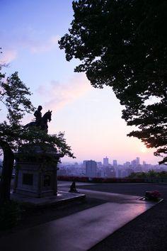 仙台城跡からのぞむ仙台市街。仙台の見所一覧。