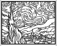 Van Gogh coloring page Starry Starry Night
