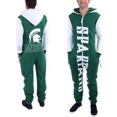 Michigan State Spartans Green Zoopless Full-Zip Adult Jumpsuit