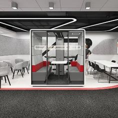 The Hush Closed working booth features frosted glass back panels for extra privacy, for those all-important meetings. Commercial Furniture, Led Ceiling Lights, Fabric Panels, Hush Hush, Open Plan, Acoustic, Flexibility, Pallet, Aesthetics