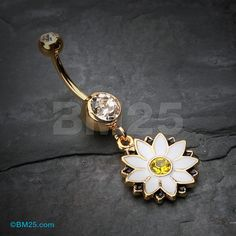 Golden White Daisy Blossom Flower Belly Button Ring by BM25Jewelry