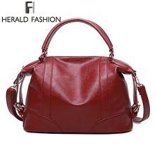 Herald Fashion Soft Leather Handbags Big Women Bag Zipper Ladies Shoulder  Bag Girl Hobos Bags New 99e2941de319a