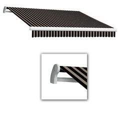 AWNTECH 10 ft. Maui-LX Left Motor Retractable Acrylic Awning with Remote (96 in. Projection) in Black/Tan