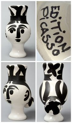 Pablo Picasso Original turned vase of white earthenware clay, Engobe and Paraffin Decoration, White Enamel with Black, Chouette Femme (Woman Owl), 1951
