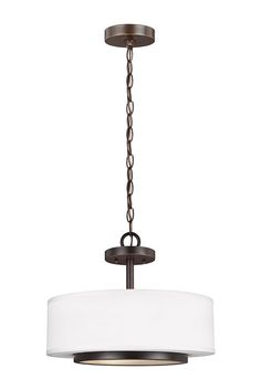 Nance 2- Light Semi-Flush Convertible Pendant by Sea Gull Lighting: Versatile  design which fits in a wide array of traditional or contemporary settings. The tapered, off-white, faux silk shades add warmth and sophistication. The large pendant and semi-flush faux silk drum shades are complemented nicely with Satin Etched Opal glass diffusers to soften the downlight. The Heirloom Bronze finish adds the perfect touch to any foyer, kitchen or dining area.