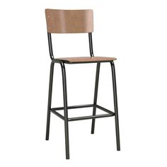 A perfect partner to our authentic stacking school chair.With matt black paint to the metal frame and a natural aged patina for the seat and back. Please note that the seat height is not suitable for kitchen or breakfast bars.