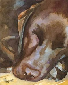 Labrador Retriever Art Print of Original Watercolor Painting - Chocolate Lab About the Print: This Yellow Lab open edition art print is Dog Paintings, Watercolor Paintings, Original Paintings, Watercolor Paper, Watercolours, Labrador Retrievers, Retriever Puppies, Lab Puppies, Dog Art