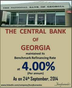 """The #CentralBankOfGeorgia """"The National Bank of Georgia"""" maintained its #Benchmark #RefinancingRate at 4.00% per annum on 24th September 2014 Data compiled and released by Central Bank of Georgia #NationalBankofGeorgia #InterestRate #MonetaryPolicyReview For more Informative post click : https://www.linkedin.com/company/jhunjhunwalas"""