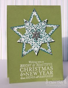 Fun star not so much the colors Bright and Beautiful Stampin Up Christmas Card and Decoration with Star Framelits by Claire Daly Stampin Up Demonstrator Melbourne Australia Diy Holiday Cards, Christmas Paper Crafts, Homemade Christmas Cards, Stampin Up Christmas, Christmas Cards To Make, Beautiful Christmas Cards, Star Cards, Scrapbook Cards, Scrapbooking