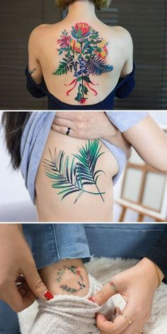Botanical tattoo, woman with a large multicolored floral back tattoo, another with a tattoo flower tattoos Tatoo Floral, Floral Back Tattoos, Flower Tattoo Back, Tattoo Flowers, Bouquet Tattoo, Colorful Tattoos, Love Tattoos, Body Art Tattoos, Small Tattoos