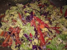 We found this recipe on Dr. Fuhrman's website. The crunch and snap of the cabbage is really refreshing and fresh. We added a little extra red wine vinegar because we like slaw that is a little on the tart side. Really great recipe!