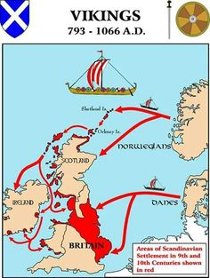 Map : Viking Settlements in the British Isles . - Because Vikings WERE part of British history, along with the Roman Empire. Something that I think is easily forgotten sometimes. European History, British History, World History, Ancient History, Family History, History Medieval, Viking Culture, Celtic Culture, Viking Life