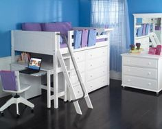 "Our Mid Loft bed is just the right height for a growing child with 42.5"" of storage space under the bed, providing valuable space that can be used for storage. Our bookshelves, desks, and dressers have been designed to fit perfectly under our Loft Beds, creating a seamless look. Our student desk can roll right under the Mid Loft .Choose from either a straight or angled ladder."