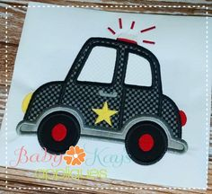 Baby Kay's Appliques - Cop Car 4x4, 5x7, 6x10, 8x8, $0.75 (http://www.babykaysappliques.com/cop-car-4x4-5x7-6x10-8x8/)