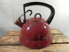Vintage Teapot by Cooks Bazaar Whistling Teapot Black and Deep Red by WesternKyRustic on Etsy