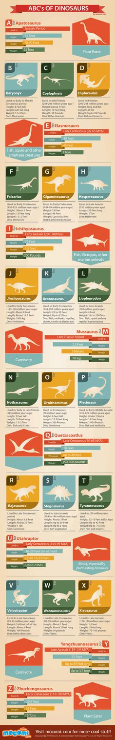 ABC's Of Dinosaurs [INFOGRAPHIC] #dinosaurs #ABC