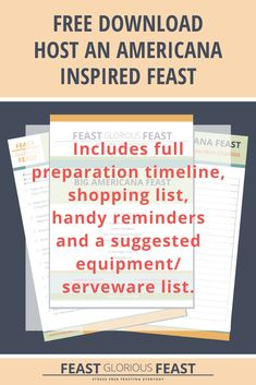 This FREE download includes worksheets to help you plan to host a Big Americana Feast. It prompts you to plan your guest list, the final menu, and gives advice on everything you need to serve the Feast. It also includes timelines and checklists for preparing the food in advance, preparing the table and food serving area, and hosting on the day. Plus it includes a bonus shopping list!  #FeastGloriousFeast #FreeDownload #FreeChecklist #FreeWorksheet #AmericanaFeast #Hosting #Entertaining Guest List, Get To Know Me, Stress Free, Recipe Collection, Prompts, Worksheets, Meal Prep, Alcoholic Drinks, Menu