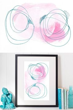 This abstract print was created in a simple, Scandinavian style. Bright pink and Serenity blue wall art would make a stylish and colorful statement in your home. Delicately painted, drawn and created to show how two people interact and affect each other when bonded through friendship.