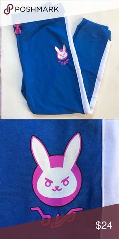D.va jogger pants D.Va\'s white rabbit logo is printed on the left leg of these comfy blue pants. White side stripes and pink drawstring on the elastic waist. New with tags. Size small but stretchy!  60% cotton; 40% polyester   #urbanoutfitters#kawaii#anime#attackontitan#myheroacademia#overwatch#nerfthis#hunterxhunter#misskobayashis#blackbutker#forever21#pacsun#tillys#asos#nordstrom#americ