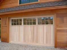 Exterior Design Exciting Light Wooden Garage Doors With Windows Gravel Floor Cool Door