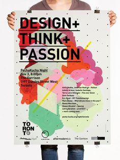 PechaKucha Night coloful #poster design. Love the polka dots and modern shape collage.: