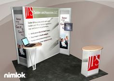 Nimlok creates portable trade show displays and corporate business exhibits. For Aeiden and Associates, LLC we built a 10x10' trade show booth to meet their needs.