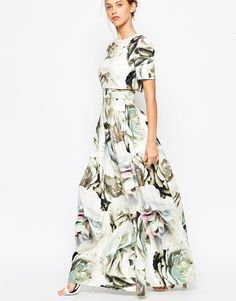 Image 3 ofASOS Scuba Large Floral Crop Top T-shirt Dress