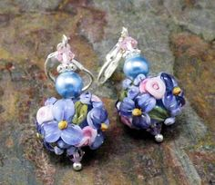 Blue floral earrings blue lampwork beaded by thepinkmartini, $30.00