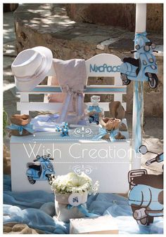 Margarita G's Baptism / Vespa - Photo Gallery at Catch My Party Christening Themes, Baptism Themes, Christening Party, Baby Baptism, Baptism Party, Baptism Ideas, Bike Birthday Parties, Birthday Party Decorations, First Holy Communion