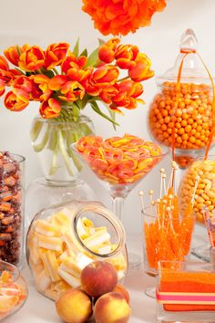 at home party ideas Deco Baby Shower, Baby Shower Themes, Baby Shower Decorations, Peach Party, Orange Party, Orange Candy Buffet, Orange Wedding Colors, Wedding Candy, Baby Sprinkle