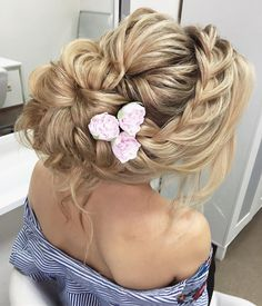 Unique messy updo wedding hair with braids | fabmood.com #weddinghair #hairstyleideas #hairstyles #weddingupdo #upstyle #chignon #bridalhair #braidhairsyle #messyupdo #messyhairstyle #braids #braidupdo #hairstyleideas