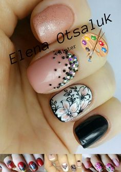 """The original """"floral"""" nail art came into fashion a few years ago. Masters of manicure developed a lot of techniques for applying patterns on the nail plate. Pink black manicure with floral motifs complemented with rhinestone and bouillon."""