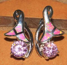 pink-fire-opal-topaz-earrings-Gemstone-silver-plate-jewelry-flower-stud-style-0Z