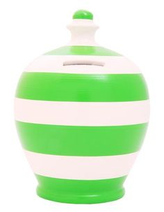 Stripe Money Pot White and Green - C29