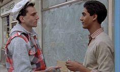 Film still of Daniel Day-Lewis & Gordon Warnecke in My Beautiful Laundrette (1985).