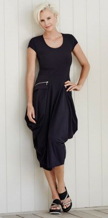 paula ryan microjersey cap sleeve dress with zips
