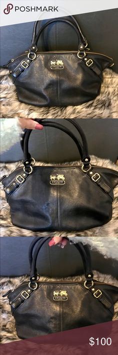 Black Coach Purse / Handbag with Gold Hardware I really love this handbag, it is black with gold hardware and is an authentic Coach. Purchased a few years ago. Measures approx 15X9. Please view condition in photos. Exterior looks good, minor stain on inside. Coach Bags