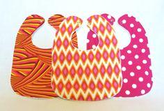 Baby Bib Set  Modern Baby Bib Set Pink and Orange by PetiteChalet, $25.00