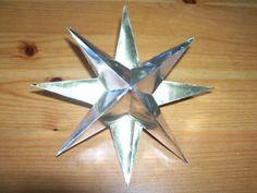 Bastelvorlage Stern aus Silberfolie, Weihnachtsstern, Bastelidee Weihnachten, Kinder basteln Sterne