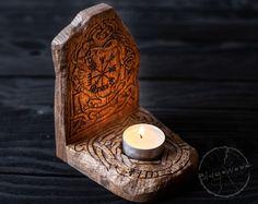 Wooden Candle holder candlestick Scandinavian home altar Home Altar, Deco Nature, Wooden Candle Holders, Scandinavian Home, Pyrography, Wood Turning, Candlesticks, Wood Crafts, Creations
