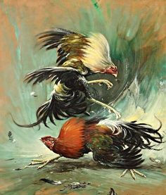 Rooster Painting, Rooster Art, Chicken Painting, Chicken Art, Arte Do Galo, Cartoon Rooster, Rooster Tattoo, Fighting Drawing, Indonesian Art