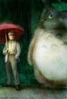 "Hayao Miyazaki by sirfish.deviantart.com on @deviantART - Hayao Miyazaki with Totoro from his film ""My Neighbor Totoro"""