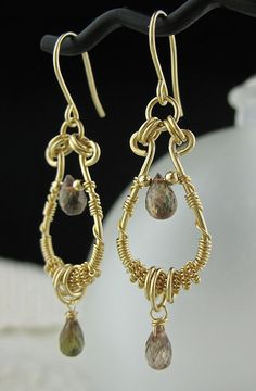 Brown Stone Andalusite Wire Wrapped Earrings by LoneRockJewelry