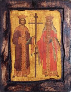"* Saint Constantine & Saint Helen *  Orthodox Byzantine icon on wood handmade.  Size.: 8.8"" inches x 6.6"" inches or (22.5 cm x 17 cm)"
