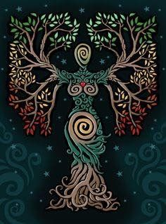 ideas tattoo tree of life albero della vita for 2019 Pagan Art, Goddess Art, Earth Goddess, The Goddess, Goddess Pagan, Illustration, Inspiration Art, Celtic Art, Nature Paintings