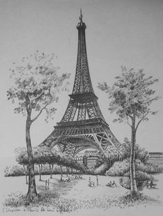 Eiffel Tower Drawing, Eiffel Tower Painting, Eiffel Tower Art, Pencil Sketches Landscape, Landscape Drawings, Realistic Pencil Drawings, Art Drawings Sketches, Stippling Art, 3d Modelle