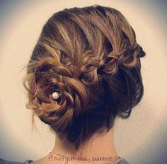 Loose messy flowered updo