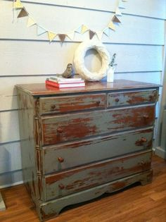 Distressed Dresser Painted Gray with Crackle Finish - Painted Dresser, Wood. $299.00, via Etsy.