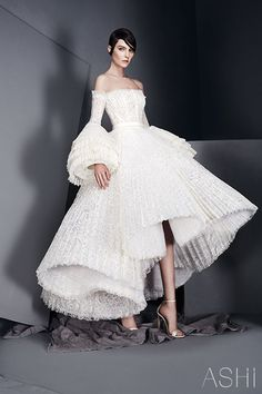 Ashi Studios S/S 2017 haute couture off the shoulder wedding gown